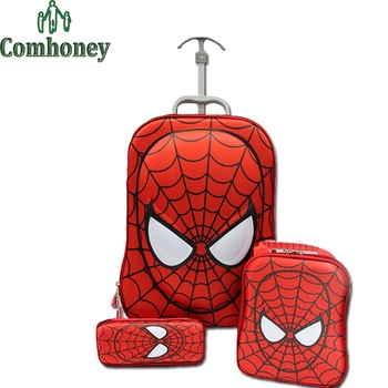 3 PCS Spiderman Trolley Suitcase Set Kids Cartoon Spider Man ...