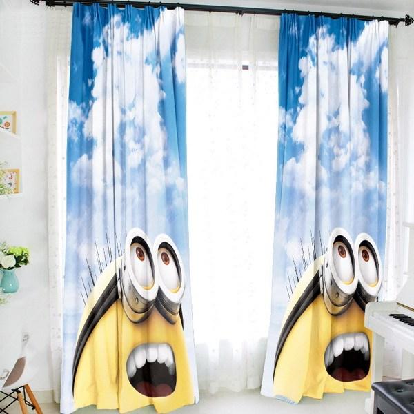 Despicable Me Minion 150*200CM Milk Fiber Fabric Window Curtains