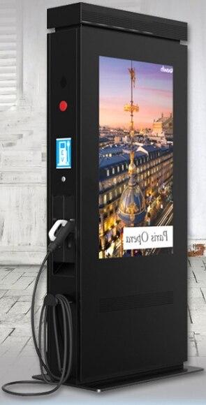 Haute luminosité extérieure étanche 42 46 55 65 84 pouces lcd HD 1080 p affichage kiosque numérique avec pc et pile de charge intégrée