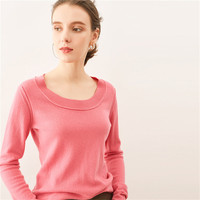 New Fashion Wool Cashmere Knit Women O Neck Solid Pullover Sweater Rose Pink 3colors S M