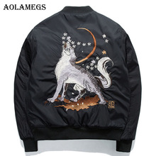 b325ff618bd Aolamegs Bomber Jacket Wolf Embroidery Thin Men s Jacket Stand Collar  Fashion Outwear Men Coat Bomb Baseball
