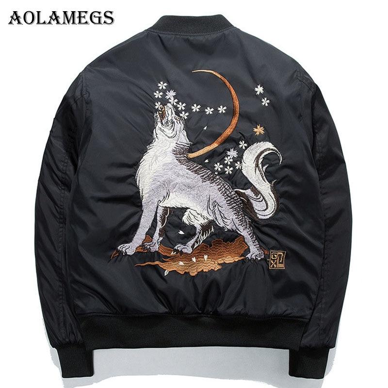Aolamegs Bomber Veste Loup Broderie Mince Hommes de Veste Col montant Mode Outwear Hommes Manteau Bombe Baseball Vestes S