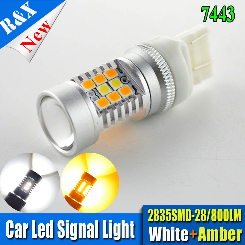 1piece T20 28SMD 2835 7443 High Power Car Dual Color White / Amber Switchback LED Parking Light Turn Signal Light Bulb