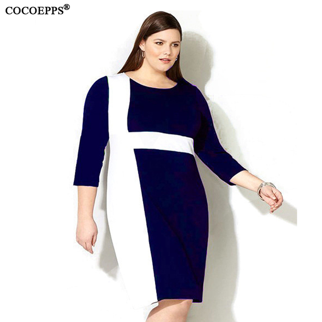 28ae2bf96f4 2017 Hot Sale Women Patchwork Plus Size office Dress Spring Summer Large  siz 4XL 5XL Dress Big Size Office Work Dresses Clothes