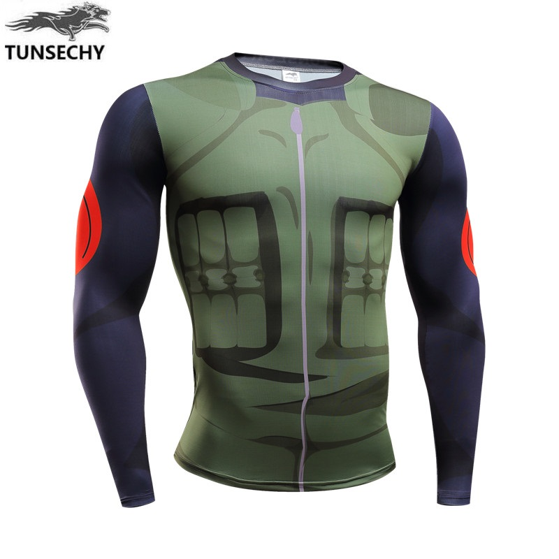 New 2017 Men Naruto 3D digital printing man movement with long sleeves T-shirt design T-shirt TUNSECHY brand real characters