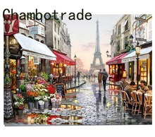 DIY By Numbers Paris Street Landscape On Canvas Kits Drawing Type  Style Coloring Pictures Home Decor Wall Art Popular