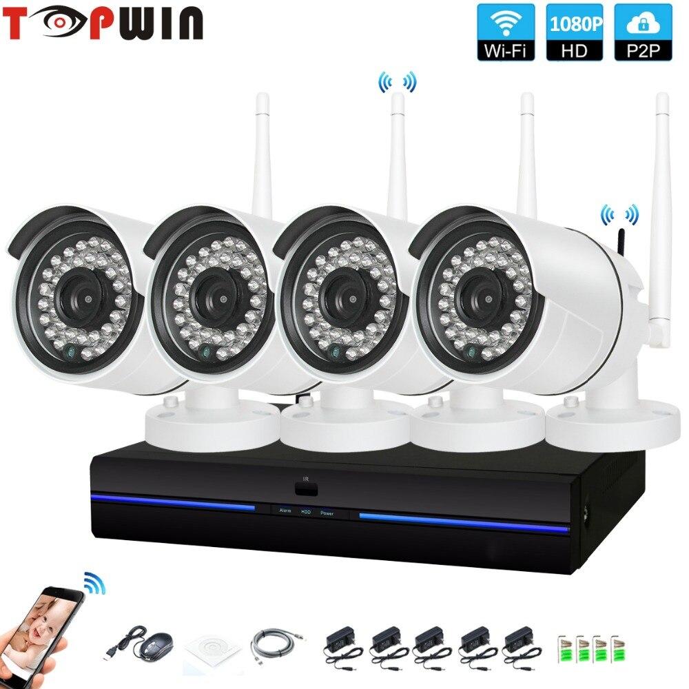 4CH CCTV Системы Беспроводной 1080 P NVR 4 шт. 2.0MP ИК Крытый P2P Wi-Fi ip-cctv безопасности Камера Системы комплект видеонаблюдения