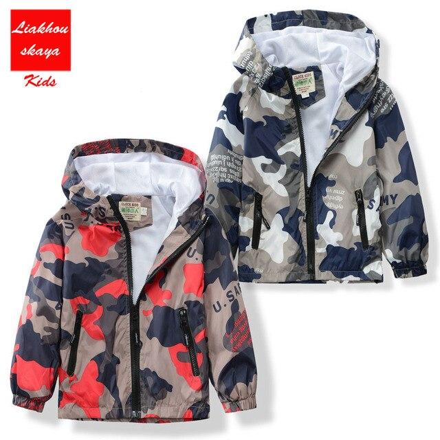 Новое поступление 2017 года мальчик/верхняя одежда для девочек Детская камуфляжная куртка с капюшоном красивая детская ветровка с длинными рукавами для весна/осень
