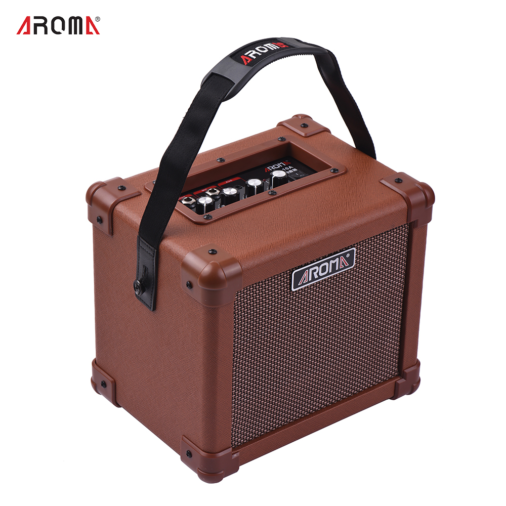 aroma ag 10a acoustic guitar amplifier portable guitar amp speaker 10w with microphone interface. Black Bedroom Furniture Sets. Home Design Ideas