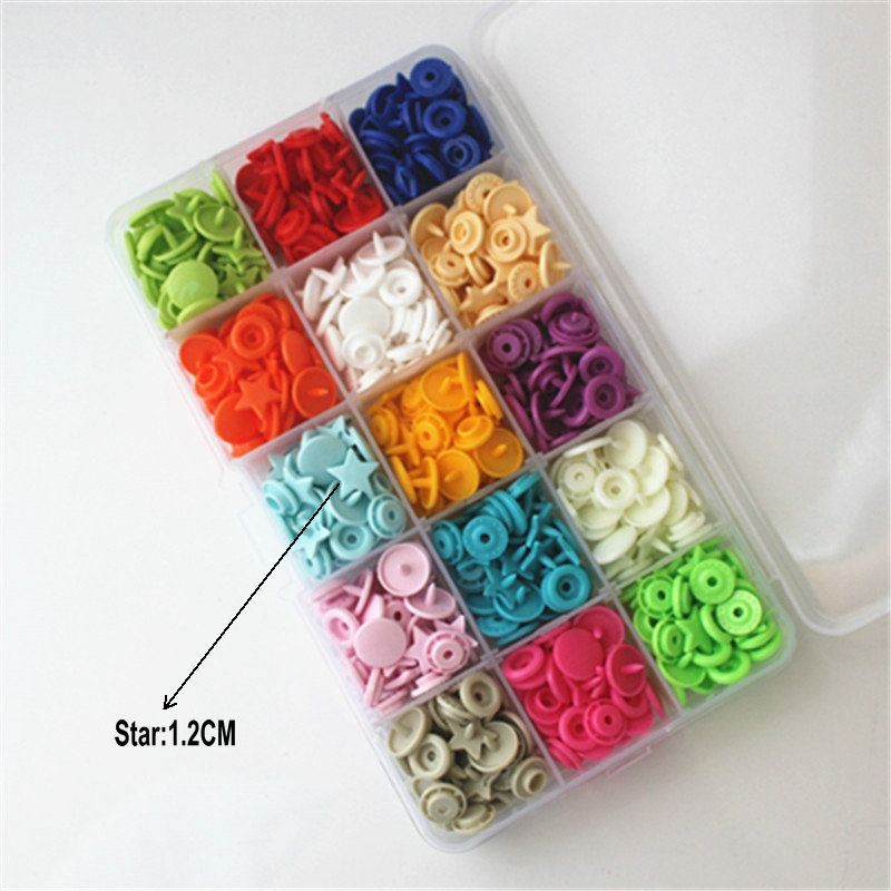 150 Set T5 15 Colors Plastic Resin Snaps Buttons Fasteners Press Studs 12mm
