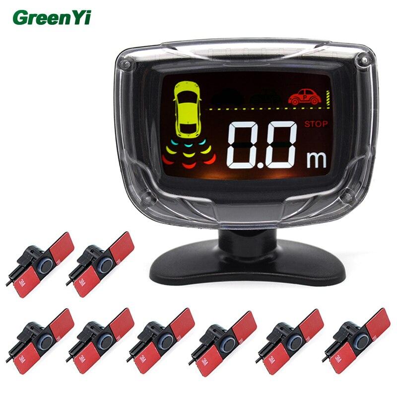 imágenes para 6 Unids o 8 Unids Coche 13mm Plana Original, Sensor de Aparcamiento con Zumbador Sistema de Radar de Reserva Reverso Del Monitor LCD 12 V 6 Colores