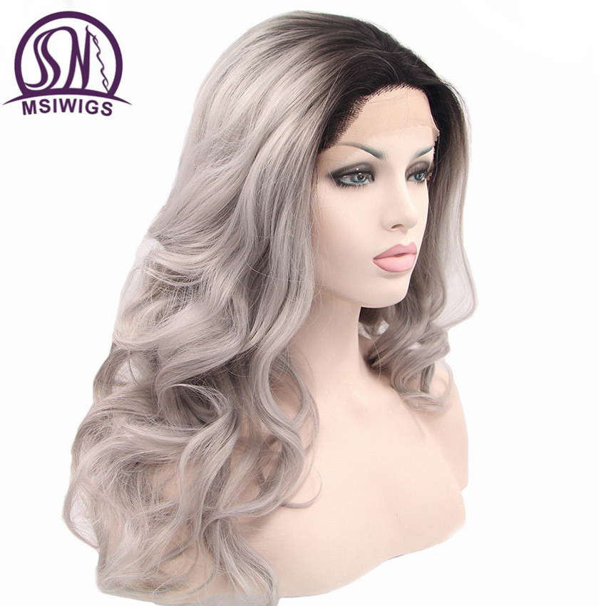 MSIWIGS Long Ombre Front Lace Wig Synthetic Hair Cosplay Two Tones Full Body Wave Grey Wigs for Women High Temperature Fiber