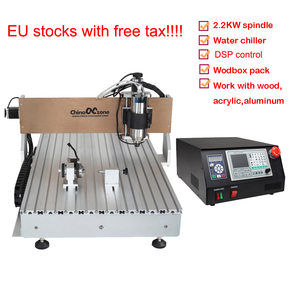 Mini CNC Router Metal Cutting Engraving DSP CNC 6090 4axis 2200W Water Cooling Carving Machine PCB