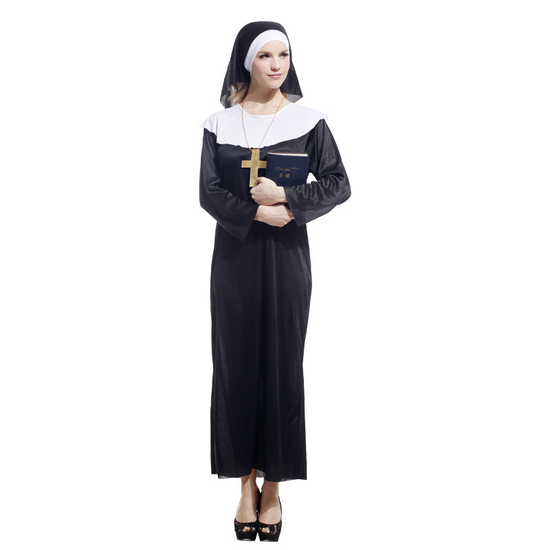 Umorden Perawan Mary Sister Nun Kostum Wanita Dewasa Halloween Party Fancy Cosplay Kostum Gaun Jubah