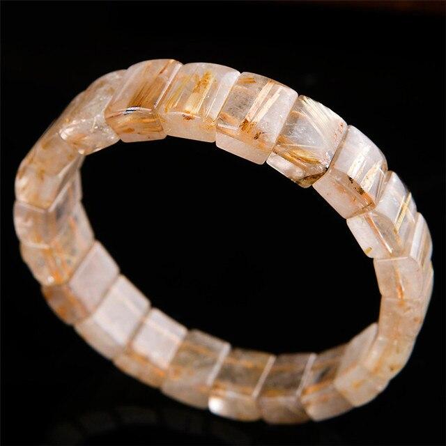 Genuine Brazil Natural Gold Rutilated Quartz Crystal Rectangle Beads Stretch Charm Bracelet For Women