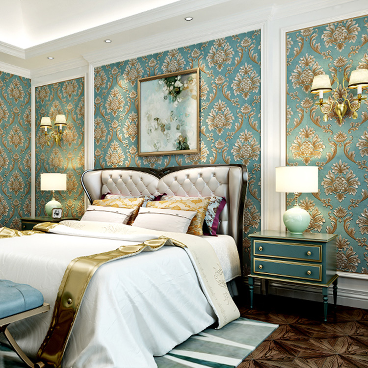 Hot Deluxe Damaskus 3D Tapete Schlafzimmer Wohnzimmer Sofa Blau