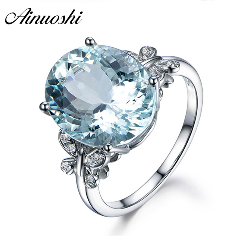 AINUOSHI Luxury 6ct Big Oval Topaz Ring 925 Sterling Silver Genuine Sky Blue Natural Topaz Women