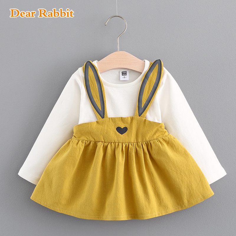 Baby Dresses 2018 Summer New Baby Girls Clothes Lace Bow tie Mini A-Line Baby Princess Dress Cute rabbit Cotton Kids Clothing