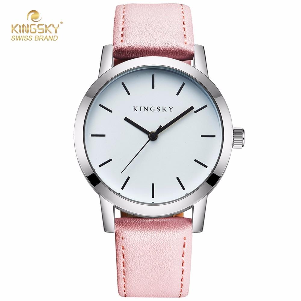 Prix pour Design de mode Femmes Montres KINGSKY Marque Montre-Bracelet Rose PU Bracelet En Cuir De Luxe Horloge Pour Dames