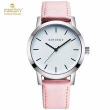 Fashion Design Women Watches KINGSKY Brand Wrist Watch Pink PU Leather Strap Luxury Clock For Ladies