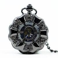 PJX1219 Artesãos Europeus Estilo Do Punk Do Vapor Relógio de Bolso Com Corrente Chave Acrílico Pétalas Relógio de Bolso reloj de bolsillo