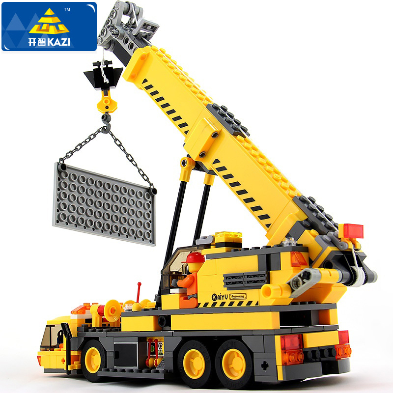KAZI 380Pcs City Crane Lift Model Building Blocks baby toys for children compatible famous brand bricks brinquedos drop shipping kazi 6726 police station building blocks helicopter boat model bricks toys compatible famous brand brinquedos birthday gift