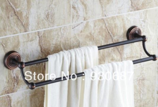 ФОТО Classic Oil Rubbed Bronze Bathroom Double Bars Wall Mounted Towel Racks Towel Holder Towel Bar