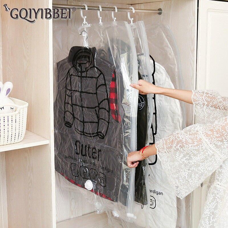 GQIYIBBEI Hanging Transparent Vacuum Storage Bag For Clothes Organizer Saver Space Holder Folding Bags Pack Garment Dustproof алиэкспресс сумка прозрачная