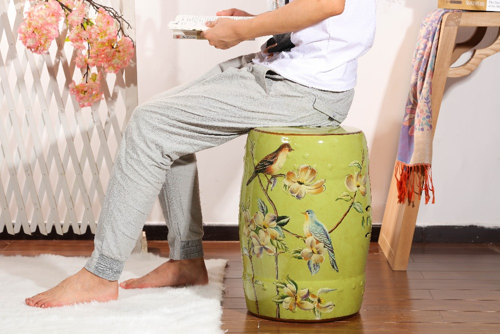 Special  green colored   home decoration ceramic drum  garden stools цена и фото