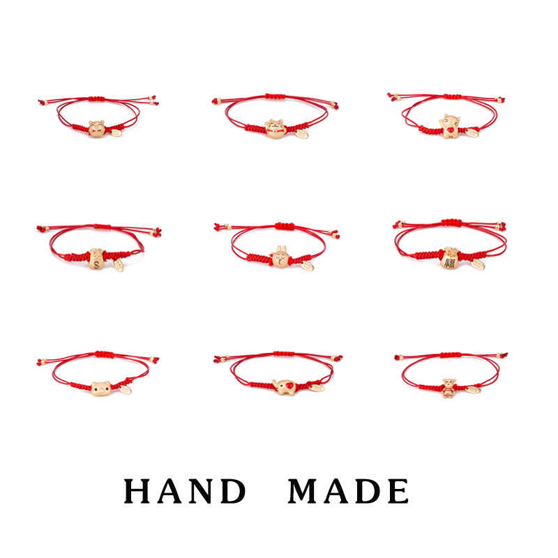 2019 New Sweet Cartoon Hand Made Lucky Red Rope Bracelets Classic Lucky Cat Small Pig Bracelets Fashion Jewelry