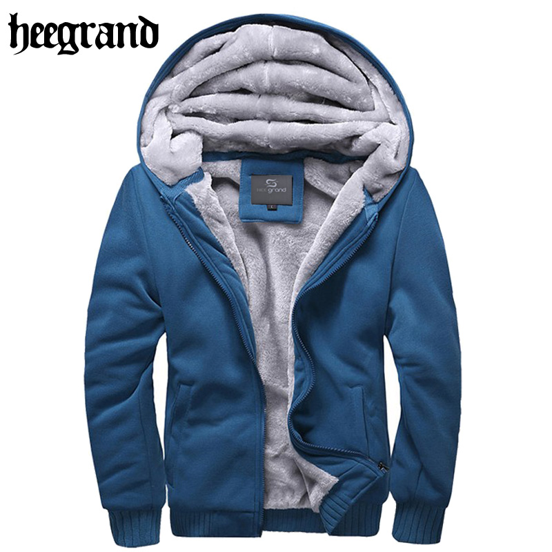 HEE GRAND 2017 Men Thick Hooded Sweatshirts Solid Winter Tracksuits Man Warm Large Size Hoddies High Quality MWW658