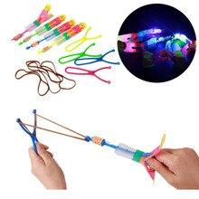 Large LED Light Slingshot Elastic Arrow Rocket Helicopter Flying Toy Party Fun Gift