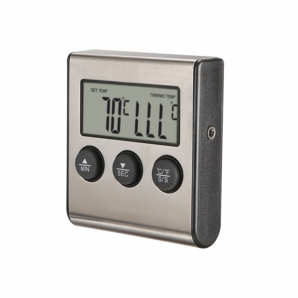 MOSEKO Digital Food Thermometer with High Temperature Alarm Function and 0 to 250 Degree Celsius Temperature Range Made of Stainless Steel