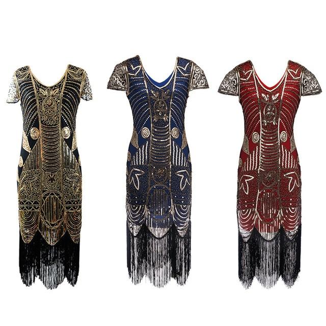 e1794b1a58 US $32.09 13% OFF|Embellished Beaded Sequin Dress Robe Vestidos Women 1920s  Flapper Dress Vintage V Neck Butterfly Sleeve Long Great Gatsby Dress-in ...