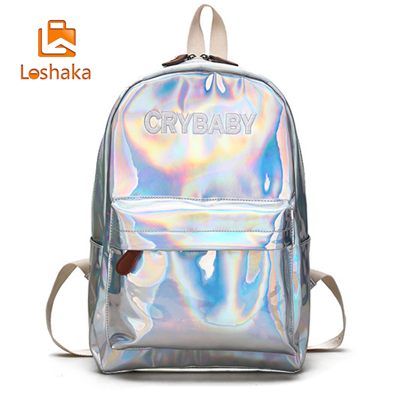 Loshaka Hip-hop Style Embroidery Letters Crybaby Hologram Laser Backpack Women Soft Pu Leather Backpack School Bags For Girls #2