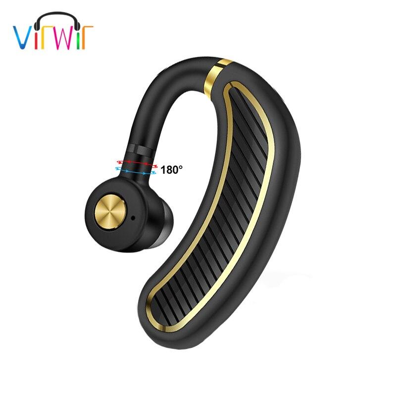 VirWir K21 Handsfree Bluetooth Earphones Business Wireless Bluetooth Headset Earhook Earphone with Mic for Driver Office Sports roman r6250 universal 1 to 2 bluetooth v3 0 mono bluetooth earhook headset blue