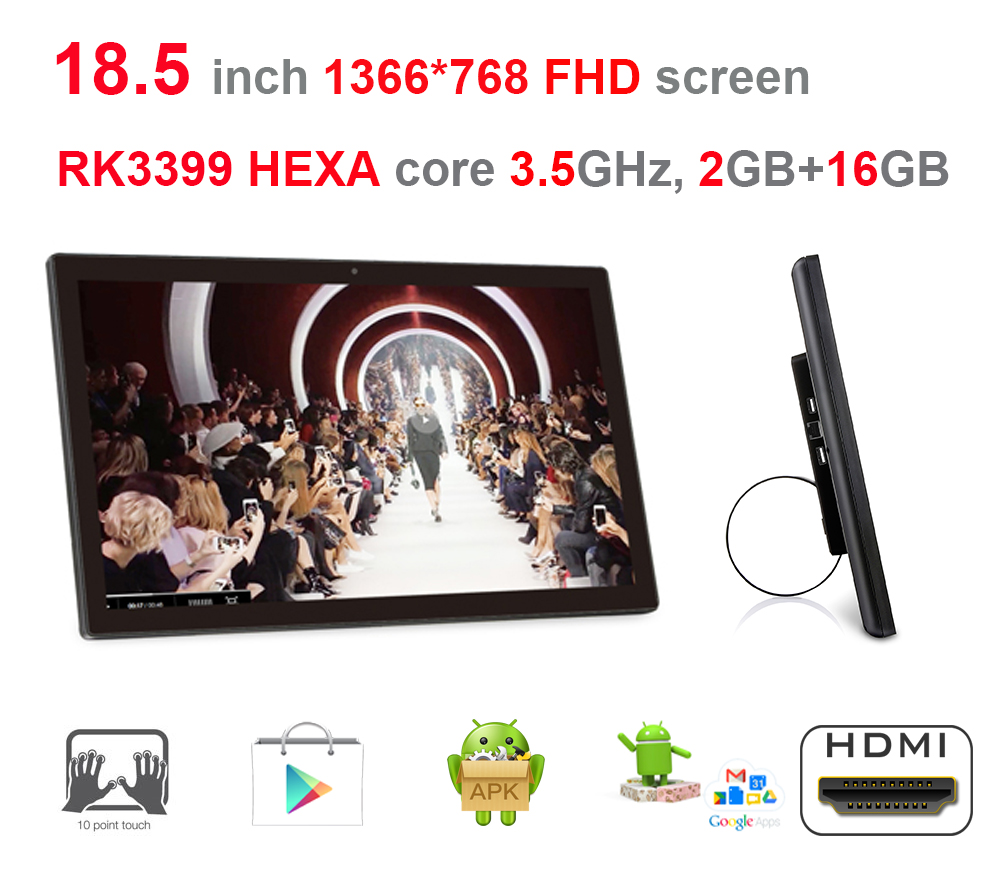 HEXA core 18.5 inch Android Smart KISOK / All in one pc (RK3399, 3.5GHz, 2GB ddr3, 16GB nand, Nougat,100m/1000m, 2.4G/5G wifi )