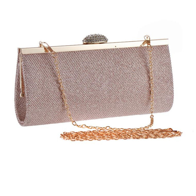 2016 Simple Clutch Bags Champagne Evening Bag Diamond Clutches Hand Bag Women Wedding Purse Night Club Mini Handbags