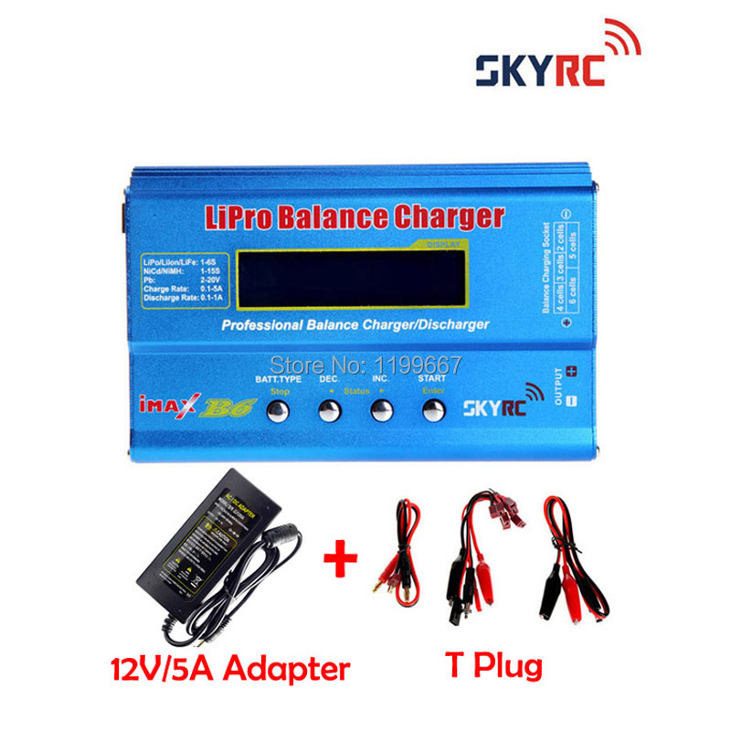 Original Skyrc IMax B6 2s-6s 7.4v-22.2v Digital LCD Lipo NiMh Battery Balance Charger SKYRC +12V5A Power Adapter ocday 1set imax b6 lipo nimh li ion ni cd rc battery balance digital charger discharger new sale