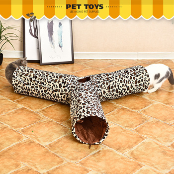 3 Links Leopard Deer Pattern Thickening Soft Cloth Ringing Paper Cat Tunnel Cat Toys