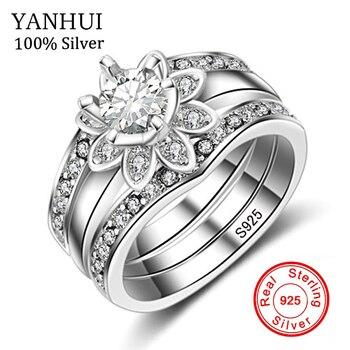 172c4e21fe08 Yanhui Joyería fina Compromiso 3 unids anillo Conjunto para las mujeres  garantizado 925 de plata esterlina