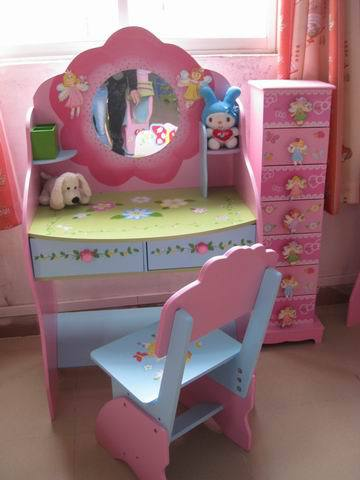 chairs for kids room gold chiavari cheap foreign trade nontoxic wooden children makeup princess dresser dressing tables and