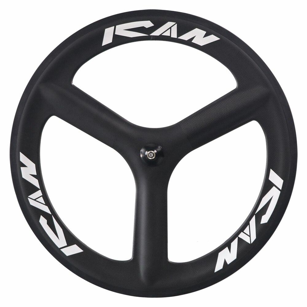 2017 nouveau Style carbone 3 rayons tri roue avant pneu 3 k finition mate vélo de route tt vélo piste vélo avant roue