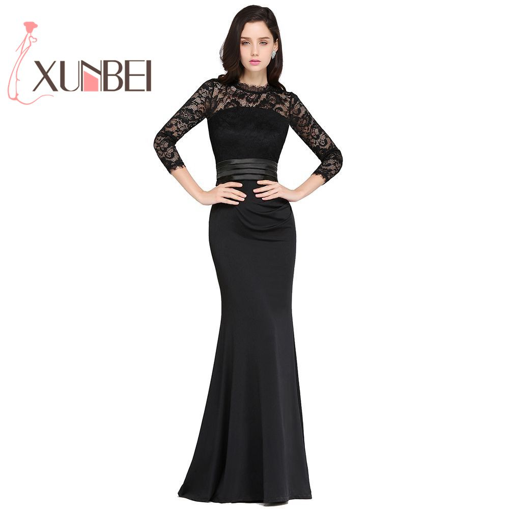 Elegnt High Neck 3/4 Sleeves Robe de Soiree Longue Black Lace   Evening     Dresses   Long 2019 Cheap Prom   Dresses   Party Gown