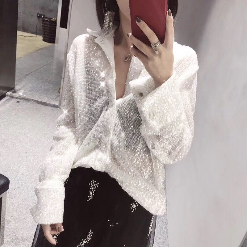 65726bf0124 Cakucool New Women Full Sequins Blouse Long Sleeve Beading Blusa Loose  Novelty Bling Shiny Blouse Shirts Autumn Tops White Femme-in Blouses    Shirts from ...
