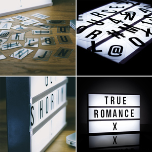 Image 2 - A6 Size LED Combination Night Light Box Lamp DIY Black Letters Cards AA Battery Cinema Lightbox