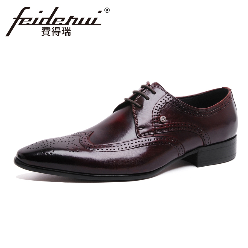 Italian Genuine Leather Men's Handmade Carved Oxfords Vintage Pointed Toe Derby Man Formal Dress Wedding Brogue Shoes YMX179 цена и фото