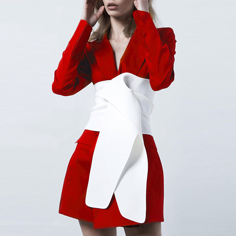 HIGH QUALITY 2019 Newest Designer Stylish Blazer Women s Long Sleeve Color Block Lacing Belt Long