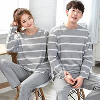 Brand Cotton Long Sleeved Couples Pajamas Set Casual Striped Women Sleepwear Lovers Pyjamas Mujer Lady Lounge Fashion Clothing