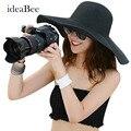 IdeaBee Las Mujeres Sombrero de Paja de Ala ancha Sombrero Plegable Sombrero de Verano Vincha de Materiales Naturales Puros 15 Mujeres de Los Colores del Sombrero de Visera